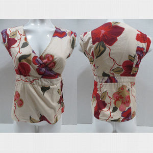 GAP top Small floral wrap front sleeveless lined